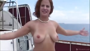We took this slut for a ride on the bang boat. I fucked her tight ass little pussy then unloaded on her cute face. When I was done I passed her off to X man and he finished her off then dumped his load all across her grill as well.