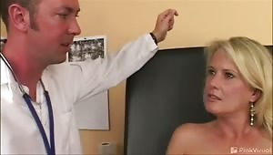 This hot mama sure had a humongous rack! The dumb bitch actually believed we were legitimate doctors even though the nurse was a complete bimbo! Watch Brigette get scammed into blowing and fucking on film for the first time!