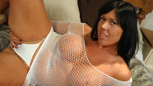 nasty cougar Peaches enjoys getting wet