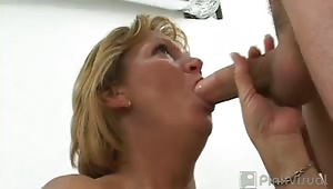 This sexy MILF needed some nice cute cock, so we gave her two! we fucked this MILF hard before spraying our hot sticky cum all over her slut face!! I love a good MILF slut!
