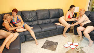 four cougar and teen lesbians have a sexparty