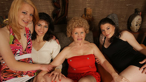 four horny mature and young lesbians make it special