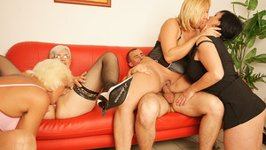 Four mature sluts begging for a warm hot facial