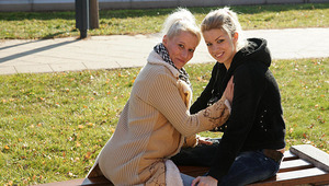 A first older and young lesbian date turns out hot