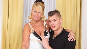 Horny grandma gets poked by her toyboy