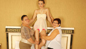 three nasty mature and teenie lesbians go nasty on bed