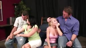 "Tony's liver needs as much rehab as his sex life when he shows up drunk for this episode of Wife Switch. Angie wants to be ""stretched out"", so Tony services her in true drunken sailor fashion before blowing his load on her ample tits."