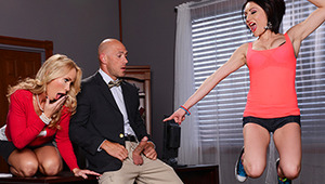 Professor Johnny Sins is always getting in trouble with the Dean for fucking every teen girl he can get his hands on, so he was doing his best to be subtle when he met Chase Ryder in the bathroom for a quickie. But when the stall door opened and none oth