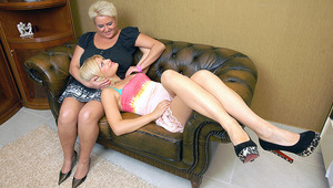 Hot older and teenie lesbian lovers do it on the couch