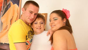 Horny housewife in hot threesome