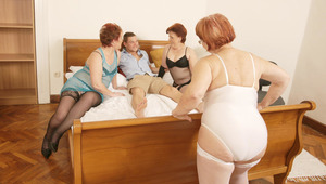 three mature skanks love to share a hard rod