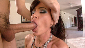 Busty MILF blowing and using face as sperm target in POV sex tape