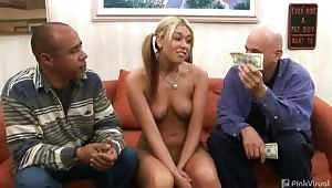We thought Tiffani was a moron to let us dupe her into believing we could make her a star, but when the slut saw the cash she dropped the act and went straight for the meat! Once our cocks were drained we realized that our wallets were too! Guess we were